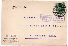23/10/1914 Postkarte - De Strasbourg - Pour Rixheim - CH Hiller Papiere - Briefe U. Dokumente
