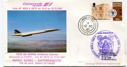 ENVELOPPE CONCORDE TOUR DU MONDE AMERICAN EXPRESS HONG KONG - KATHMANDOU DU 12-10-1987 AVEC OBL HONG KONG 12 OC 87 - Concorde