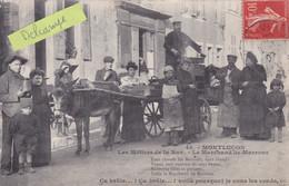 03-MONTLUCON -Les METIERS De La RUE- Le MARCHAND De MARRONS-ATELAGE D'ANE Et ANIMATION GROS PLAN-Ecrite 1907   (16/4/21) - Shopkeepers