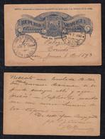Nicaragua 1893 Stationery Postcard LEON To CORINTO - Nicaragua