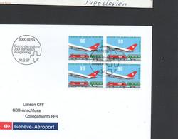 AVIATION - SWITZERLAND  - 1987 - GENEVA AIRPORT RAIL LINK  BLOCK OF 4 ON ILLUSTRATED FDC - Airplanes