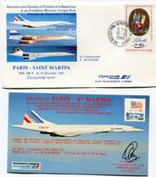 ENVELOPPE CONCORDE RENCONTRE ENTRE MONSIEUR LE PRESIDENT DE LA......ET.....MONSIEUR GEORGES BUSH PARIS - SAINT MARTIN... - Concorde