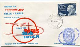 ENVELOPPE PREMIER VOL CONCORDE IBIZA - PARIS DU 20 AVRIL 1987 AVEC OBLITERATION IBIZA 20 ABR 87 - Concorde