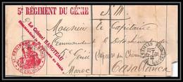 2820 5ème Régiment Du Génie Casablanca Chemin De Fer 1911 Hanoteau Lettre Cover France Guerre Maroc War - Military Postmarks From 1900 (out Of Wars Periods)