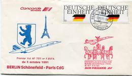 ENVELOPPE PREMIER VOL BERLIN SCHONEFELD - PARIS CdG DU 3 OCTOBRE 1991 AVEC OBLITERATION BERLIN 3-10-91 - Concorde