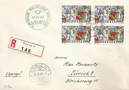 """R Sonderstempel  """"Exposition Philatélique Romande, Vevey""""  (VB 750 Jahre Bern)        1942 - Covers & Documents"""