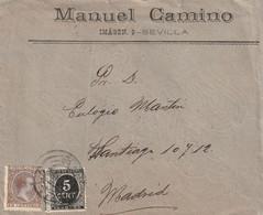 1892-CARTA-Edifil: 219, 236 Impuesto De Guerra. ALFONSO XIII-PELON. SEVILLA A MADRID - Lettres & Documents
