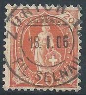 Stehende Helvetia 86A, 20 Rp.rötlichorange  ZÜRICH SELNAU        1906 - Oblitérés