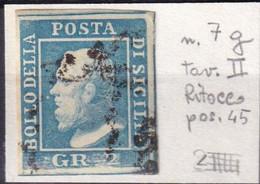SICILIA 2 Gr. AZZURRO CHIARO Usato Ritocco Pos. 45 - Sicilia