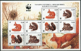 Slovenija 2007. Mi.#640/43 MNH/Luxe. WWF. Animals. European Squirrels. Klb. (Ts11) - Slovenia