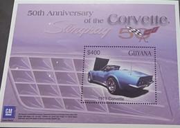 J) 1971 GUYANA, 50TH ANNIVERSARY OF THE CORVETTE STINGRAY, OLD CARS, SOUVENIR SHEET, XF - Guyana (1966-...)