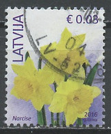 Lettonie - Lettland - Latvia 2016 Y&T N°945 - Michel N°882II (o) - 0,03€ Narcisses - Lettland
