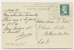 N° 170 CARTE DAGUIN VINCENNES FETE AERIENNE 20.21.ET 22 JUL 1925 VINCENNES .... RARE - Annullamenti Meccanici (pubblicitari)
