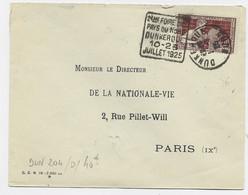 N° 212 SEUL LETTRE DAGUIN 2EME FOIRE DE PAYS DU NORD DUNKERQUE 10.25 JUILLET 1925 DUNKERQUE 25 NORD - Mechanical Postmarks (Advertisement)