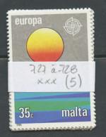 Malte - Malta Lot 1986 Y&T N°727 à 728 - Michel N°746 à 747 *** - EUROPA - Lot De 5 Séries - Malta