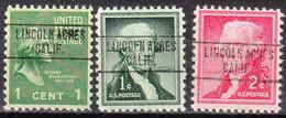 Locals USA Precancel Vorausentwertung Preo, Locals California, Lincoln Acres 748, 3 Diff. - Precancels