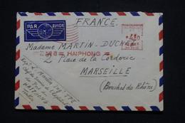 INDOCHINE / VIETNAM  - Enveloppe De Haiphong En 1949 Pour Marseille Par Avion, Affranchissement Mécanique - L 95695 - Covers & Documents