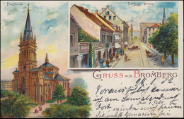 AK Gruss Aus Bromberg - Paulskirche Und Danziger Straße, BROMBERG 28.1.02 - Unclassified