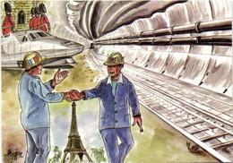 Illustrateur Méferic 1993 Le Tunnel Ferroviaire Sous La Manche RV 300 Ex - Unclassified
