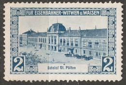 Train Station St. PÖLTEN - BAHNHOF Railway Widow Orphan Austria KuK Charity Aid LABEL CINDERELLA VIGNETTE - Sin Clasificación