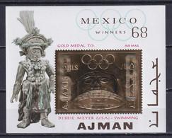 AJMAN 1968, Mi# Bl A64, Golden Foil, Sport, Olympics Mexico, MNH - Summer 1968: Mexico City