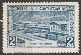 Fortezza Franzensfeste TIROL ITALY Train Station Bahnhof Railway Orphan Austria KuK Charity LABEL CINDERELLA VIGNETTE - War Propaganda