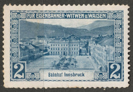 Train Station INNSBRUCK BAHNHOF Railway Widow Orphan Austria KuK Charity LABEL CINDERELLA VIGNETTE - Sin Clasificación