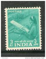 India 1955 2nd Definitive Series Five Year Plan-3As Naga Woman At Handloom Sc 259 1v MNH Inde Indien - Textile