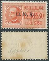1943-44 RSI ESPRESSO 2,50 LIRE VERONA GOMMA CON MACCHIE MH * - RE17 - Eilsendung (Eilpost)