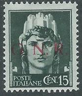 1944 RSI EFFIGIE GNR 15 CENT TIRATURA BRESCIA MH * - RE20 - Ungebraucht