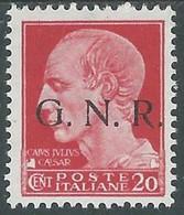 1944 RSI EFFIGIE GNR 20 CENT TIRATURA BRESCIA MH * - RE20 - Ungebraucht