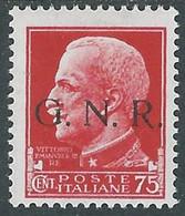1944 RSI EFFIGIE GNR 75 CENT TIRATURA BRESCIA MH * - RE20 - Ungebraucht