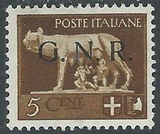 1944 RSI LUPA GNR 5 CENT TIRATURA BRESCIA MH * - RE20 - Ungebraucht
