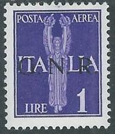 1944 RSI POSTA AEREA GNR 1 LIRA TIRATURA BRESCIA MH * - RE20-2 - Luftpost