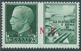 1944 RSI PROPAGANDA DI GUERRA 25 CENT BRESCIA III TIPO MH * - RE17-7 - Kriegspropaganda
