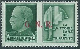1944 RSI PROPAGANDA DI GUERRA 25 CENT BRESCIA III TIPO MH * - RE17-10 - Kriegspropaganda