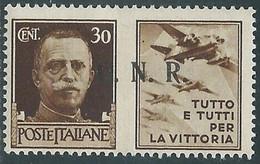 1944 RSI PROPAGANDA DI GUERRA 30 CENT BRESCIA III TIPO MH * - RE17-10 - Kriegspropaganda