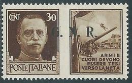 1944 RSI PROPAGANDA DI GUERRA 30 CENT BRESCIA III TIPO PUNTO DOPO R MH * RE17-8 - Kriegspropaganda