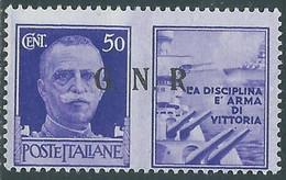 1944 RSI PROPAGANDA DI GUERRA 50 CENT BRESCIA III TIPO PUNTI PICCOLI MH * RE17-8 - Kriegspropaganda