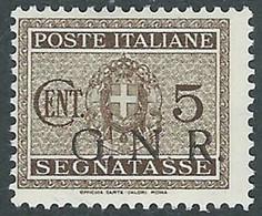 1944 RSI SEGNATASSE GNR 5 CENT TIRATURA BRESCIA PUNTO DOPO LA N MH * - E185 - Portomarken