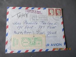 Lettre Taxee Usa New York  Vignette Encre Verte Postage Due  Retour  Pour Paris - 1961-....