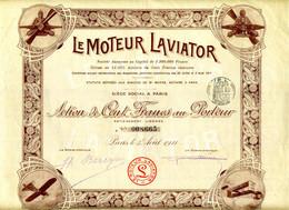 Rare, Le Moteur LAVIATOR, 1911, Action De 100 Francs Au Porteur Avec Coupons - Aviazione