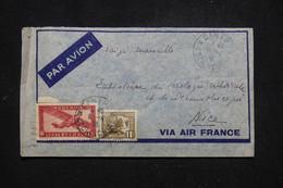 INDOCHINE - Enveloppe De Cantho Pour Nice En 1938 Par Avion - L 95754 - Covers & Documents