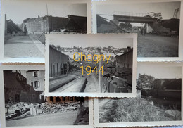 Chagny-Bombardements 1944 ( Lot De 5 Photos) - War, Military