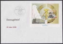 """Block 100, """"40 Jahre DDR"""", 1989, Großformatiger FDC, ESst. - Briefe U. Dokumente"""