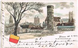 Litho Münster Von Der Kreuzschanze Aus 1903 - Muenster