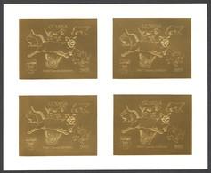 Guyana, 1992, Dog, Bear, Rabbit, Cougar, Butterfly, Dinosaur, Genova, Gold, MNH Imperforated Sheetlet, Michel 3978B - Guyana (1966-...)