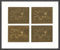 Guyana, 1992, Dog, Bear, Rabbit, Cougar, Butterfly, Dinosaur, Genova, Gold, MNH PROOF Sheetlet, Michel 3978 - Guyana (1966-...)