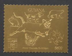 Guyana, 1992, Dog, Bear, Rabbit, Cougar, Butterfly, Dinosaur, Genova, Gold, MNH Perforated, Michel 3978BA - Guyana (1966-...)