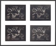 Guyana, 1992, Dog, Bear, Rabbit, Cougar, Butterfly, Dinosaur, Genova, Silver, MNH Imperforated Sheetlet, Michel 3979B - Guyana (1966-...)